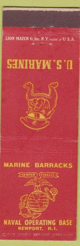Matchbook Cover - US Marines Barracks Newport RI