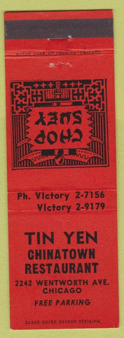 Matchbook Cover - Tin Yen Chinatown Restaurant Chicago IL
