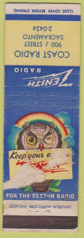 Matchbook Cover - Zenith Radio Coast Sacramento CA POOR PAPER LOSS