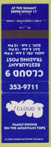 Matchbook Cover - Cloud 9 Restaurant Trading Post Los Gatos? CA
