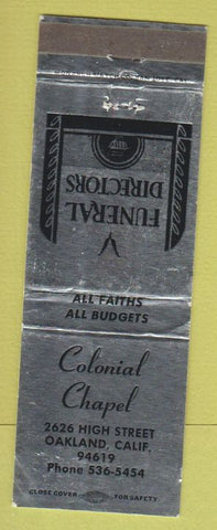 Matchbook Cover - Colonial Chapel Oakland CA Funeral Home