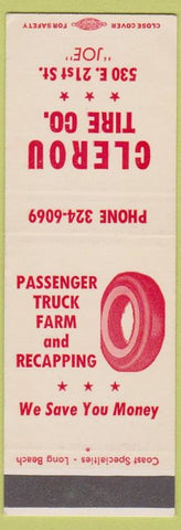 Matchbook Cover - Clerou Tire Co CA SAMPLE