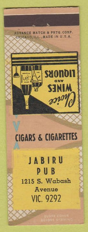 Matchbook Cover - Jabiru Pub Chicago IL Advance