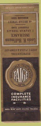 Matchbook Cover - Paige Insurance NO TOWN Louis Hoffmann
