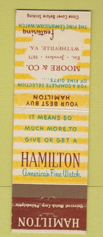 Matchbook Cover - Hamilton Watches Moore Jewelers Wytheville VA