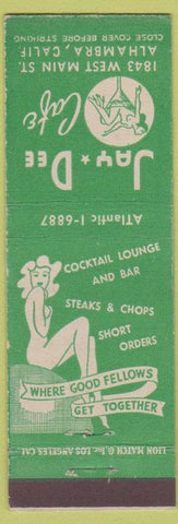 Matchbook Cover - Jay Dee Cafe Alhambra CA girlie topless