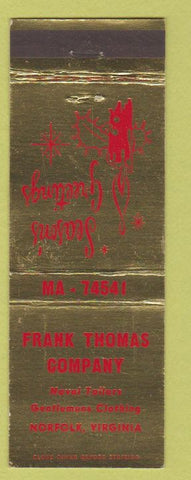 Matchbook Cover - Frank Thomas Company Norfolk VA men's clothes