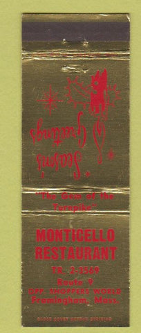 Matchbook Cover - Monticello Restaurant Framingham MA Christmas