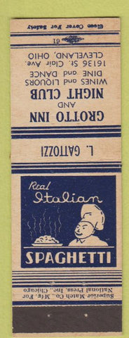Matchbook Cover - Grotto Inn Night Club Cleveland OH Italian food L Gattozzi
