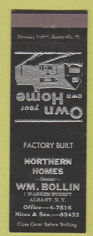 Matchbook Cover - WM Bollin Homes Albany NY
