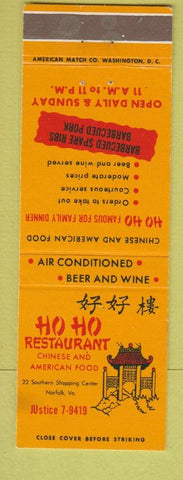 Matchbook Cover - Ho Ho Restaurant Chinese Food Norfolk VA WEAR