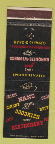 Matchbook Cover - Hans Goodrich Restaurant Lincolnwood IL