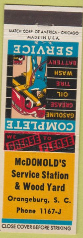 Matchbook Cover - McDonald's Service oil gas Orangeburg SC lumber