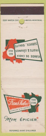 Matchbook Cover - Frans Kebec Epicier Montreal QC WEAR grocery