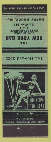 Matchbook Cover - New York Bar girlie NO TOWN
