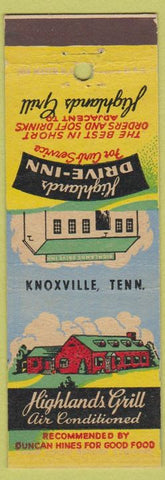 Matchbook Cover - Highlands Drive Inn Knoxville TN Grill