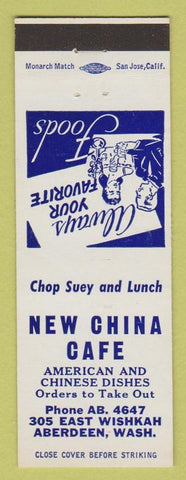 Matchbook Cover - New China Cafe Aberdeen WA Chinese food