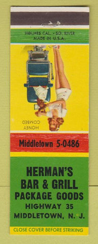 Matchbook Cover - Herman's Bar Grill Middletown NJ pinup