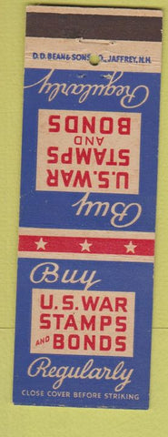Matchbook Cover - US War Bonds Stamps WWII