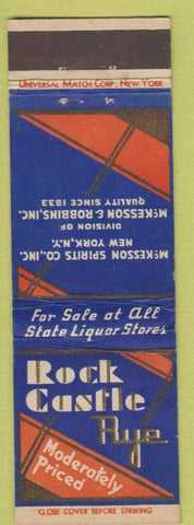 Matchbook Cover - Rock Castle Rye McKEsson Spirits Universal LONG