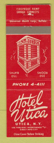 Matchbook Cover - Hotel Utica NY
