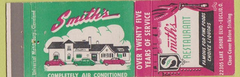 Matchbook Cover - Smith's Restaurant Euclid OH