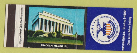 Matchbook Cover - Government Employees Insurance Lincoln Memorial Washington DC