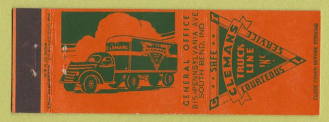 Matchbook Cover - Clemans Trucking Line South Bend IN
