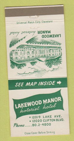Matchbook Cover - Lakewood Manor Motorist Hotel Cleveland OH 30 Strike
