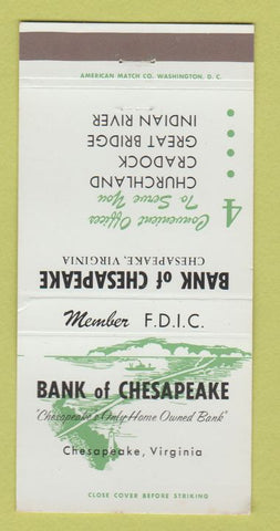 Matchbook Cover - Bank of Chesapeake VA 30 Strike