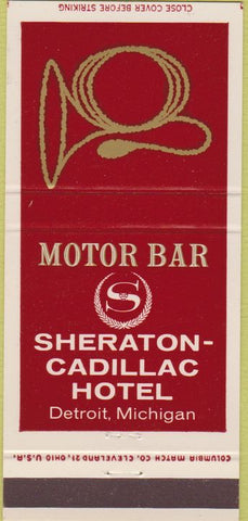 Matchbook Cover - Sheraton Cadillac Hotel Detroit MI 30 Strike