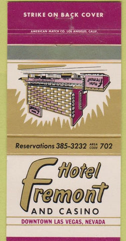 Matchbook Cover - Hotel Fremont Las Vegas NV 30 Strike casion