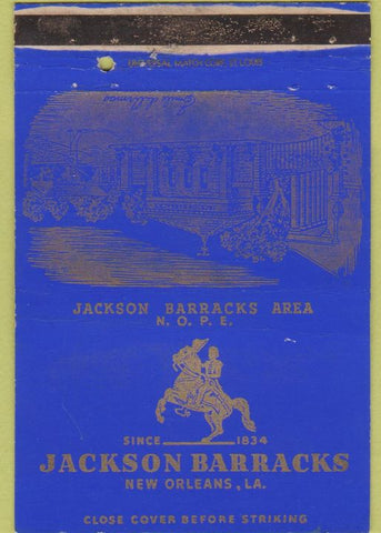 Matchbook Cover - Jackson Barracks New Orleans LA military 40 Strike postcard