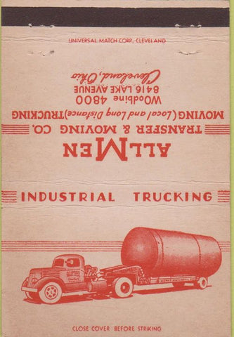 Matchbook Cover - All Men Trucking Moving Cleveland OH 40 Strike