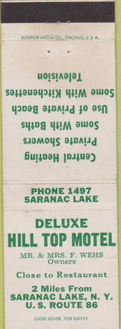 Matchbook Cover - Deluxe Hill Top Motel Saranac Lake NY