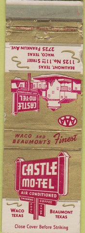 Matchbook Cover - Castle Motel Beaumont Waco TX WORN