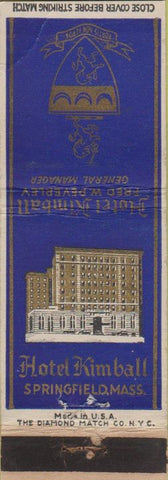 Matchbook Cover - Hotel Kimball Springfield MA WEAR