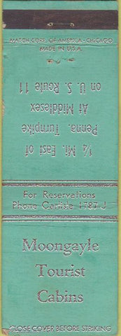 Matchbook Cover - Moongayle Tourist Cabins Middlesex PA?