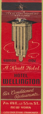 Matchbook Cover - Hotel Wellington New York City