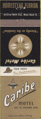 Matchbook Cover - Caribe Motel Homestead FL