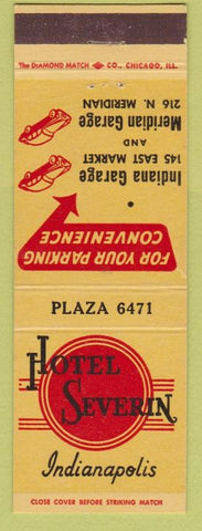Matchbook Cover - Hotel Severin Indianapolis IN