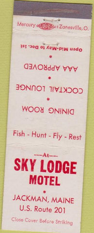 Matchbook Cover - Sky Lodge Motel Jackman ME