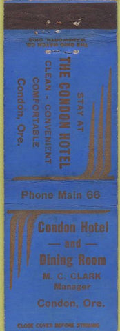 Matchbook Cover - Condon Hotel Condor OR WEAR
