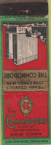 Matchbook Cover - The Commodore New York City hotel WEAR