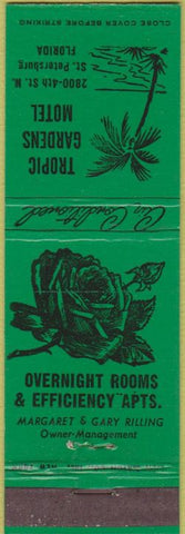 Matchbook Cover - Tropic Gardens Motel St Petersburg FL