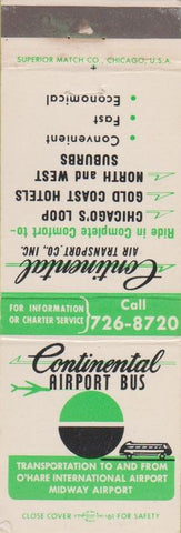 Matchbook Cover - Continental Airport Bus Chicago IL
