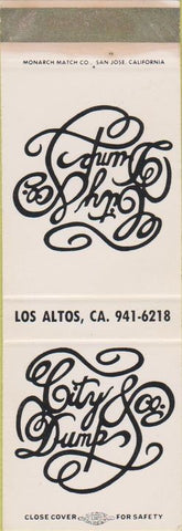 Matchbook Cover - City Dumb Los Altos CA SAMPLE WEAR