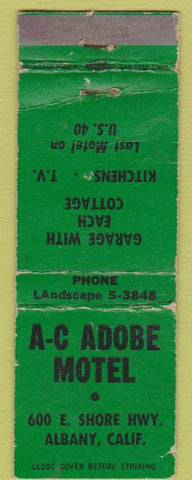 Matchbook Cover - AC Adobe Motel Albany CA WORN