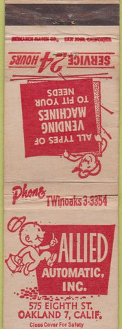Matchbook Cover - Allied Automatic Vending Oakland CA WORN