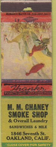 Matchbook Cover - MM Chaney Smoke Shop laundry Oakland CA WORN